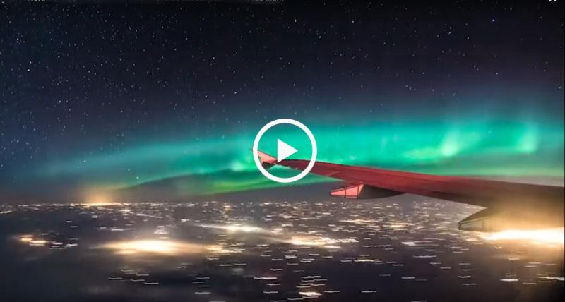 Полет сквозь сказку! Северное Сияние - вид с борта самолета