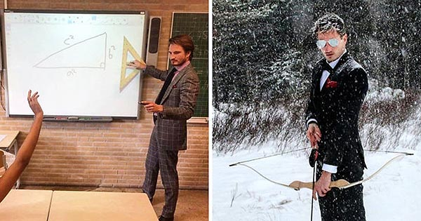 Новая звезда Интернета! Горячий учитель математики, у которого в классе одни отличницы.