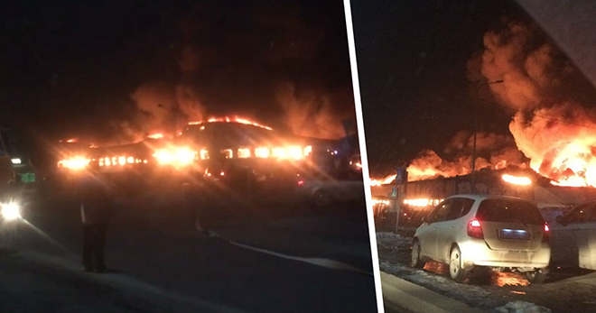 В Тюмени дотла сгорел семейный торговый центр